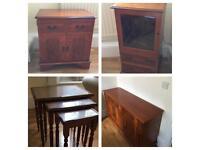 Matching dark wood furniture