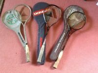 3 Squash Racquets with covers