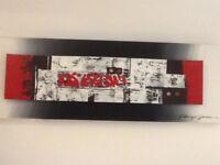 VERY MODERN ART CANVAS (RED/WHITE/BLACK/GREY MIX)