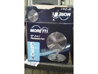 "New boxed Moretti chrome 16"" fan ( can be made as a desk fan, or a pedestal fan,)"