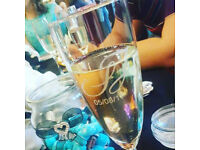 Personalised Etched Champagne flutes