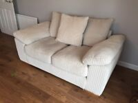 As New Harvey's Lacey 2 and 3 seater Pillow Back Sofas Cream/Violet with Full Care Plan