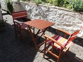 Teak Patio Table and Two Matching Directors Chairs