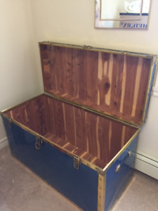 42in Cedar Lined Metal Covered Storage Trunk