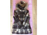 women's Wool Coat, La Chapelle Sport, Size 165/88A, 46.9% Wool, Green Check