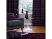 90x90 eyelet Arlington curtains in plum with 2 matching cushions and Riband Pendant Lamp