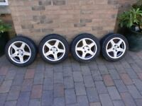 "SET 4 ALLOY WHEELS WITH TYRES 14"" RIMS"