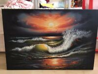 Large Textured Wave Sunset Canvas