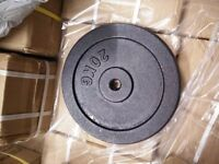 2 X 20KG STANDARD CAST IRON WEIGHTS - BRAND NEW AND BOXED