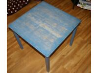 Blue wooden table