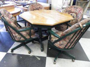 Table with 4 Green Padded Chairs