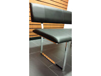 Waiting Bench BLACK/WHITE/BROWN faux leather Dining salon retail