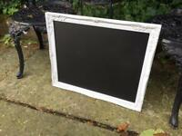 White ornate chalkboard Menu wedding seat plan vintage table plan