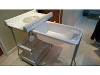 Baby Changing Unit and Bath Primi Sogni (FREE Sangenic nappy bin)