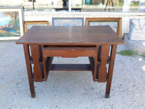 RARE ARTS  & CRAFT MISSION LIBRARY DESK WITH BUILT IN INK WELL