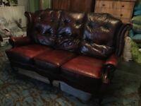 oxblood red leather 3 seater high back sofa plus library chair and footstool
