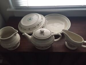 Collection of Longaberger Pottery - tea pot - pie plates etc