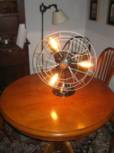 LARGE ANTIQUE INDUSTRAIL STEAMPUNK TABLE FAN LAMP
