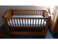 Cot bed with waterproof mattress for sale (cowans)