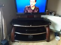 Large Mahogany & Smoked Glass TV Stand
