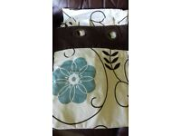 2 pair of Next teal foral curtains