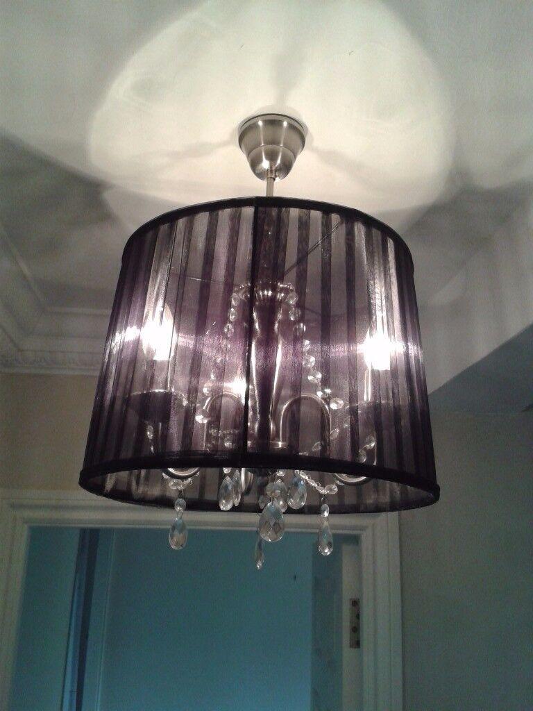3 light crystal chandelier inside voile shade in abingdon 3 light crystal chandelier inside voile shade aloadofball Images