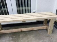 New Handmade solid treated timber garden bench