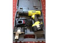 Ryobi 14.4v CHI-1442P Hammer Drill 2x Battery,charger+carry Case