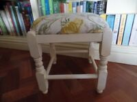 vintage cream painted footstool with yellow floral Laura Ashley upholstery
