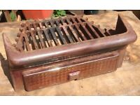 Vintage Antique Period Anodised Cast Iron Fireplace Fire Grate