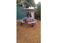 round garden bench cafe /pub type seats 8 people in grey primer