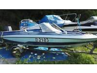 14 foot Glastron speedboat with 85hp suzuki outboard, and comes with trailer.
