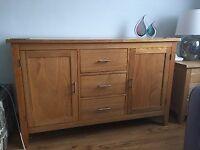 Solid Oak sideboard - 2 door/3 drawer
