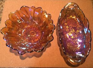 4 CARNIVAL GLASS DISHES