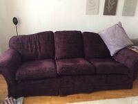 2 excellent Multi York Sofas, we have no pets or small children colour:Aubergine chenille £400
