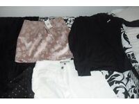 SELECTION OF SIZE 10 LADIES CLOTHES SOME ARE NEW WITH TAGS ON VARIOUS ITEMS