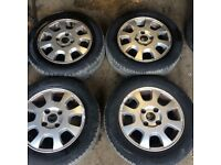 set of 4 Volvo V70 S40 4 stud alloy wheels with 4 very good tyres 195 60 r15