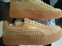 NEW Fenty Puma by Rihanna suede creepers satin yellow brown UK size 3.5 EUR