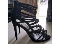 Brand New & Unworn - River Island Black Caged Heels - Size 6