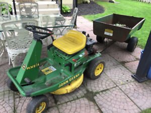 John Deere RX63 riding lawnmower and trailer