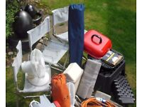 CAMPING / CARAVAN CAMPING CHAIRS, WASTE MASTER, HOOK UP CABLE, LEVELLER, WASTE BIN.