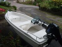 Malibu 360 Lux Sports / Fisher Boat with Tohatsu 20HP Outboard Engine and Roller Coaster Trailer