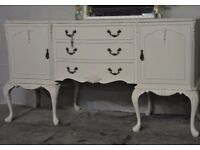 Shabby Chic French Style Sideboard with 3 Drawers Dove Grey Laura Ashley