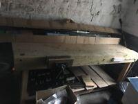 woodworking bench and dewalt saw