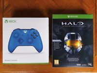 NEW Official Microsoft Xbox One Wireless Blue Controller Gamepad + Halo The Master Chief Collection