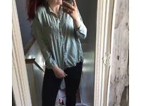 Green Superdry shirt and white chiffon shirt size 12