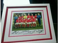 Hand signed 1966 photo display by 8 WCF players with Coa