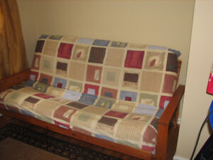 """Wood Frame Futon with 8"""" Mattress and Cover"""