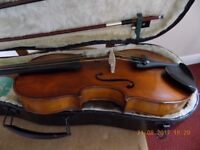 Old 3/4 violin , new bow + hard case, set up for playing