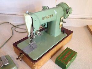 Vintage Singer Sewing Machine 185K W/ Attachments & Case